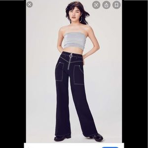 BDG blue xtra Hi-waist/wide leg contrast stitch